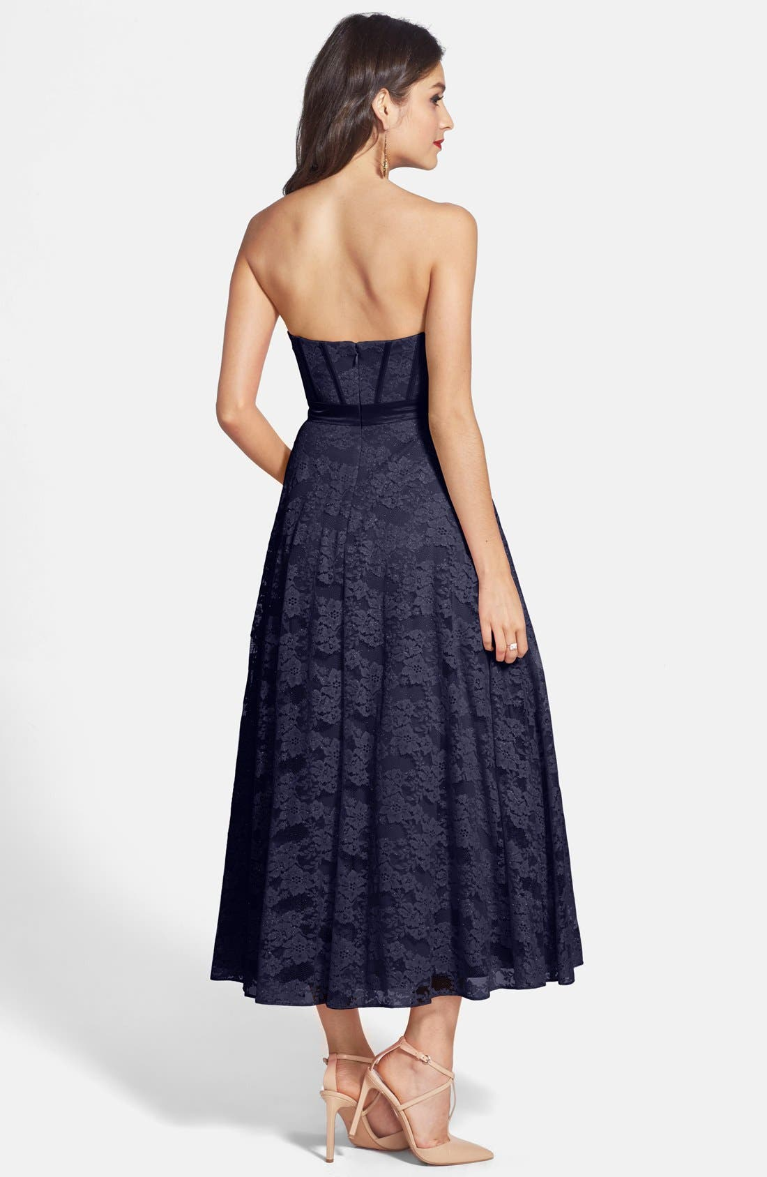 Alternate Image 2  - Hailey by Adrianna Papell Strapless Glitter Lace Party Dress