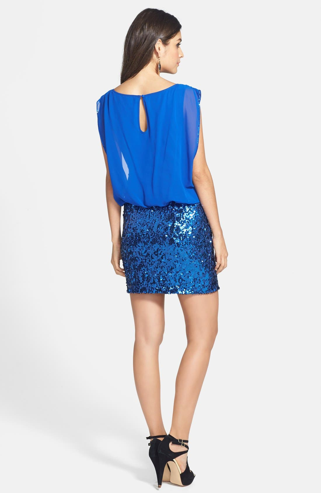 Alternate Image 2  - Aidan by Aidan Mattox Faux Two-Piece Chiffon & Sequin Dress