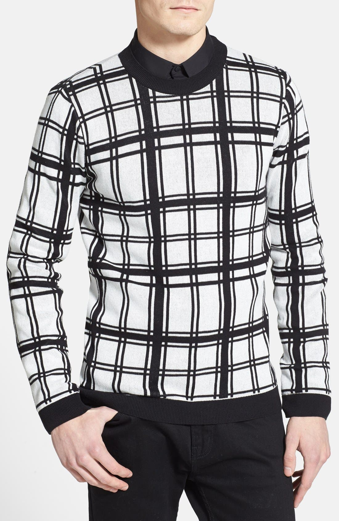 Alternate Image 1 Selected - Topman Check Crewneck Sweater