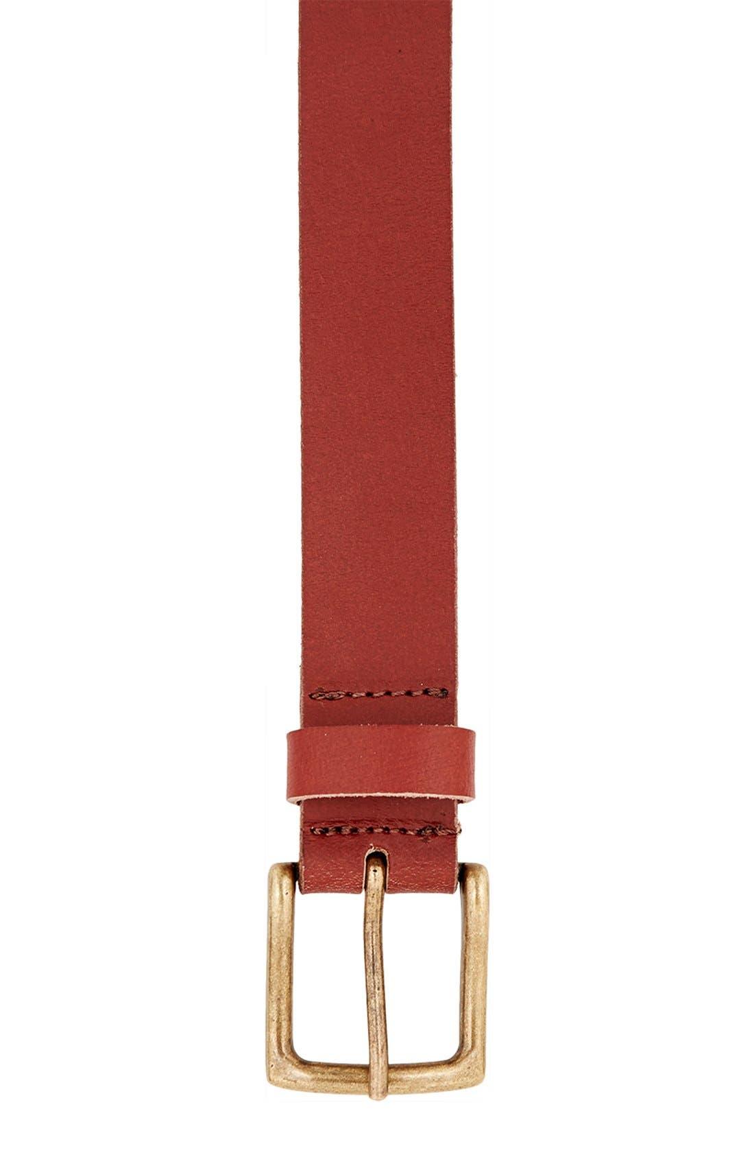 Alternate Image 2  - Topman Brown Leather Belt
