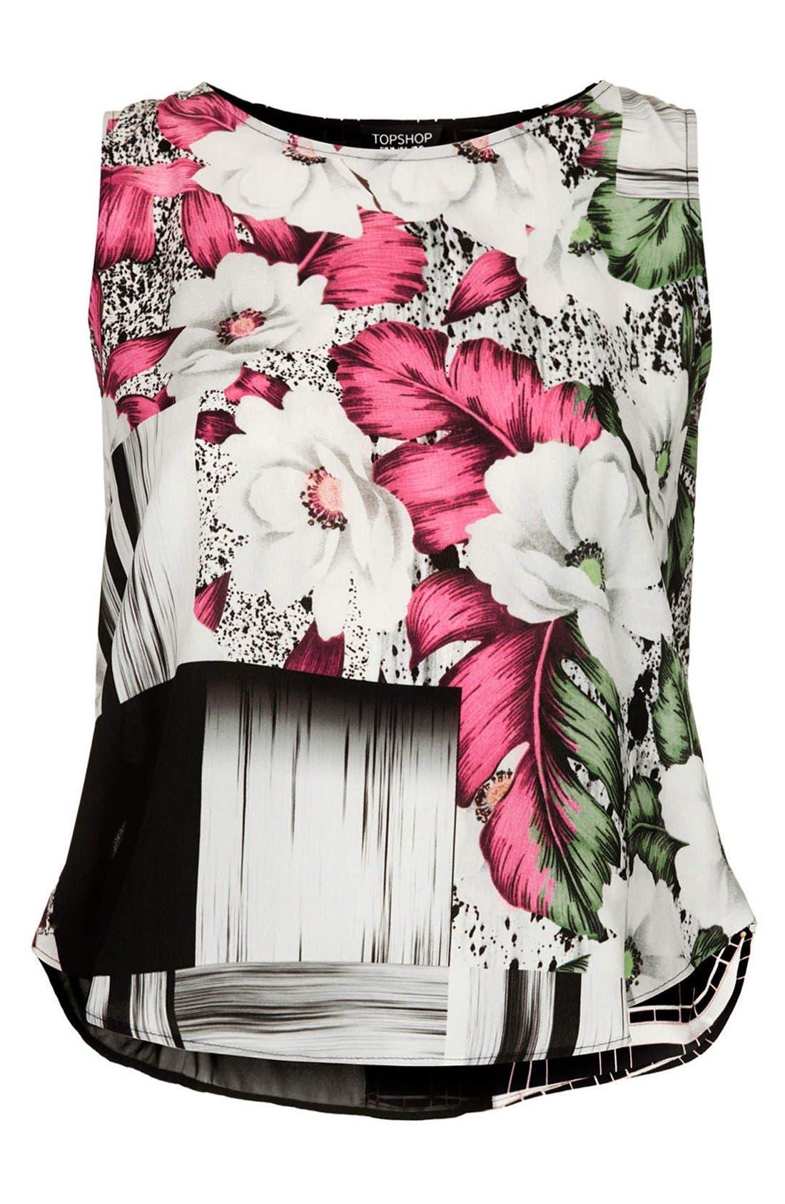Alternate Image 3  - Topshop Floral Grid Print Sheer Inset Shell