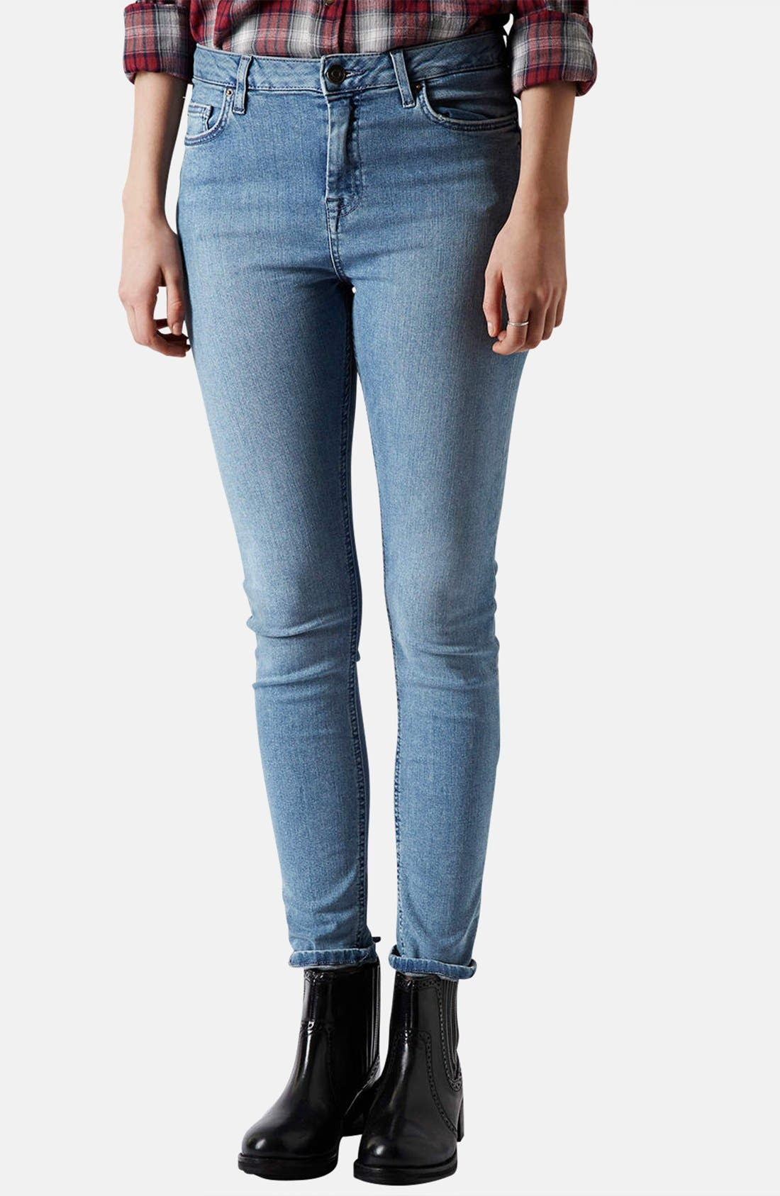 Main Image - Topshop Moto 'Jamie' High Rise Skinny Jeans (Mid Stone)