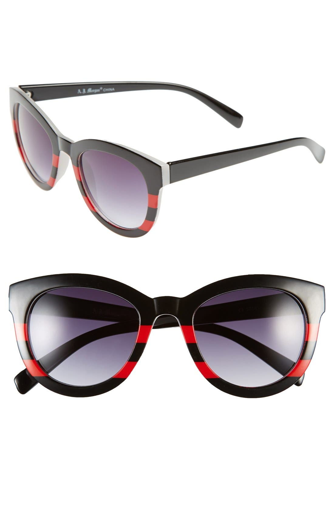 'Collette' 50mm Sunglasses,                             Main thumbnail 1, color,                             Black/ Red