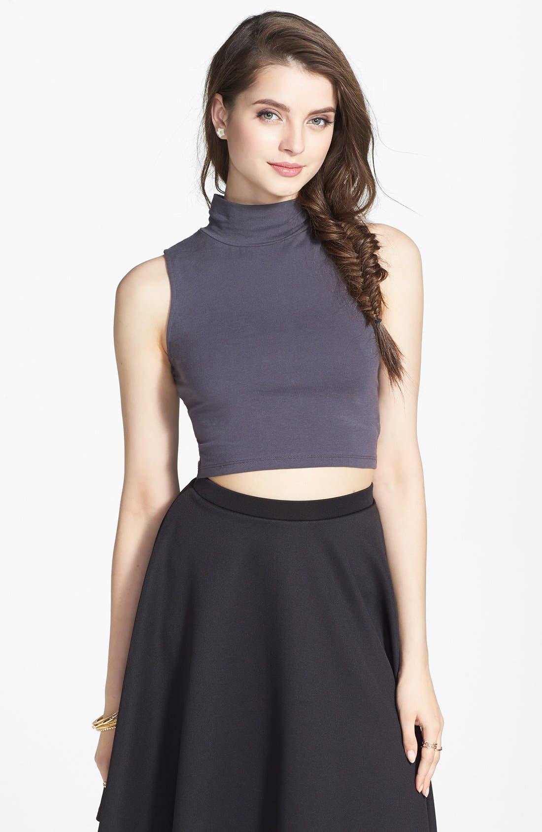 Alternate Image 1 Selected - Frenchi® Mock Neck Crop Tank (Juniors)