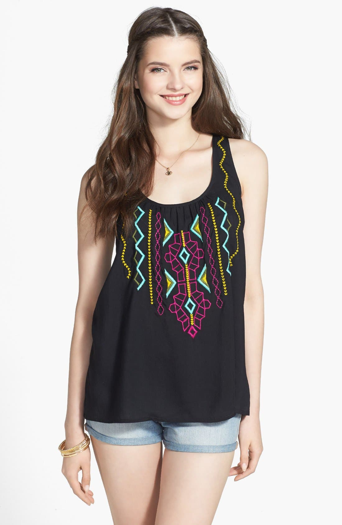 Alternate Image 1 Selected - Rubbish® Embroidered Front Tank (Juniors)