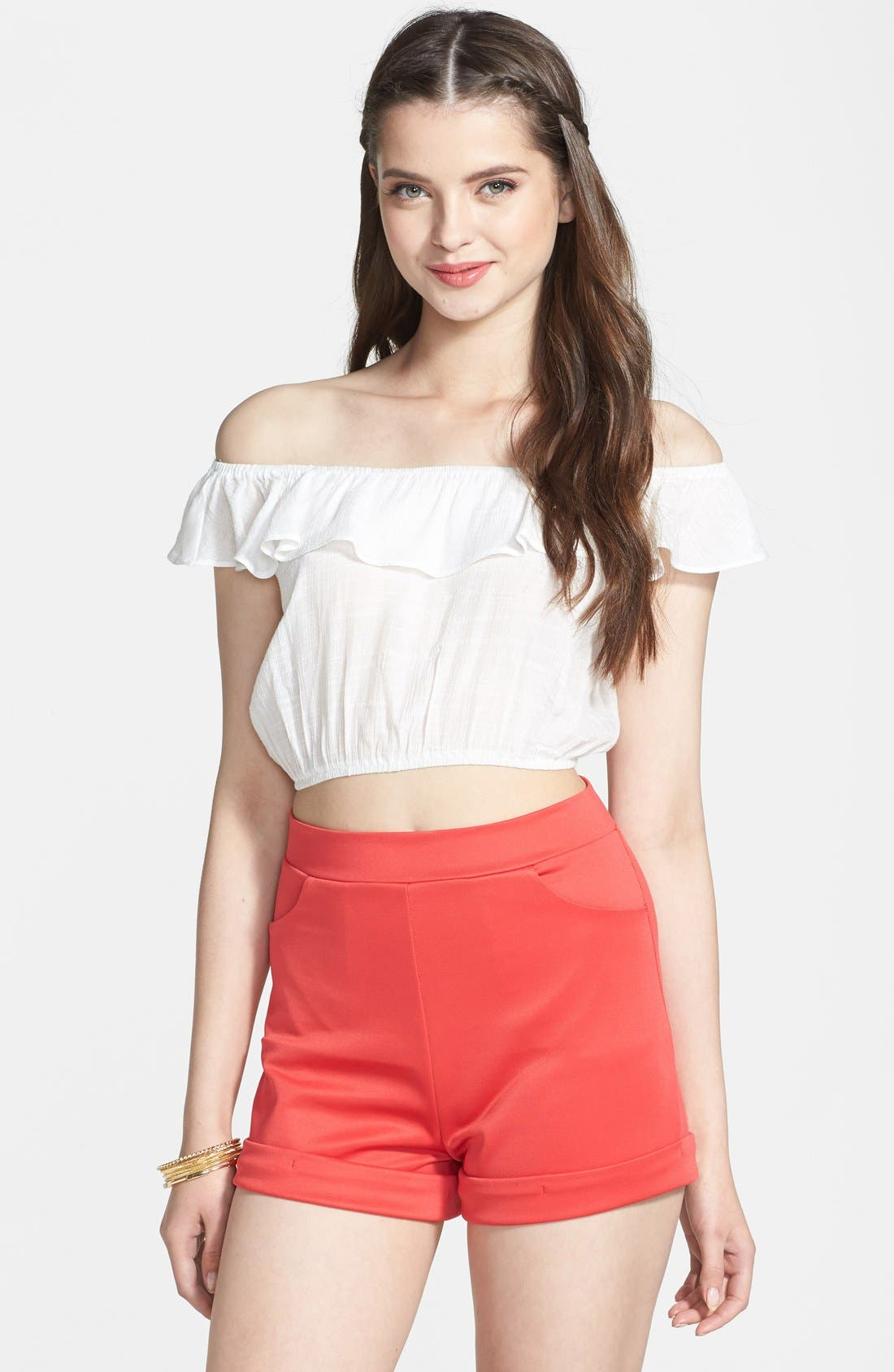 Main Image - Painted Threads High Waist Knit Shorts (Juniors)