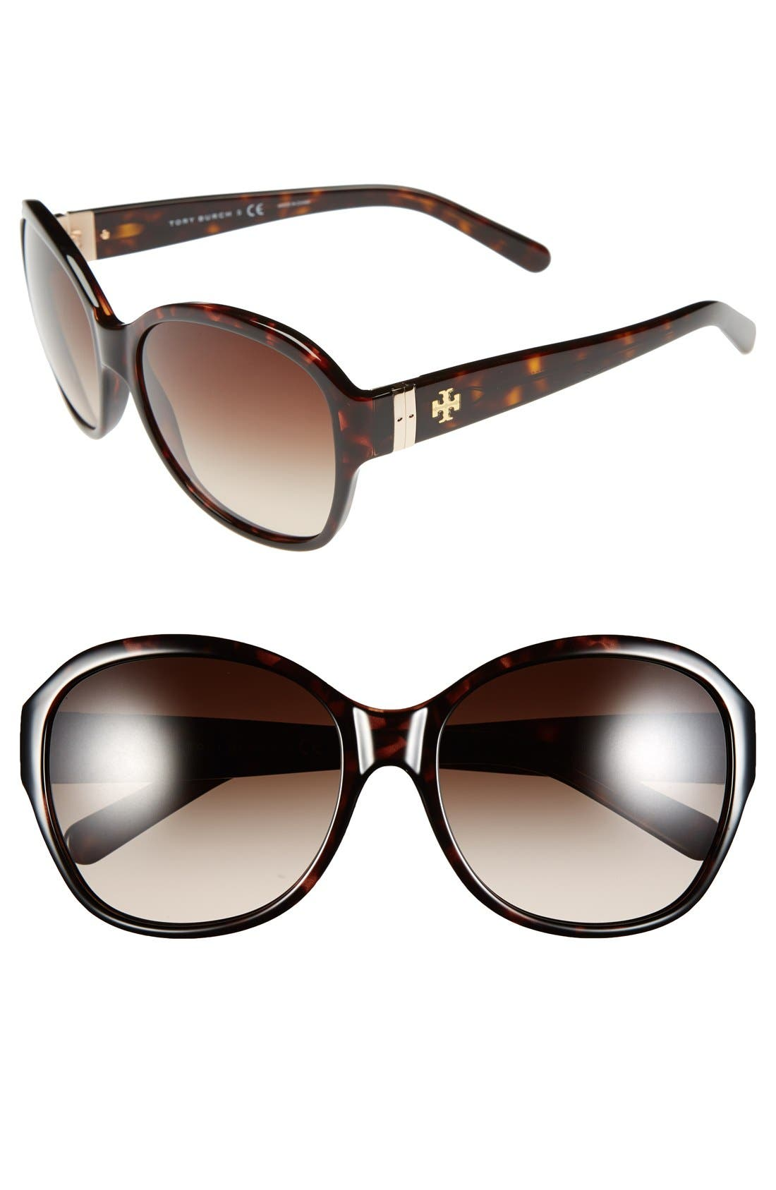 Alternate Image 1 Selected - Tory Burch 57mm Round Sunglasses