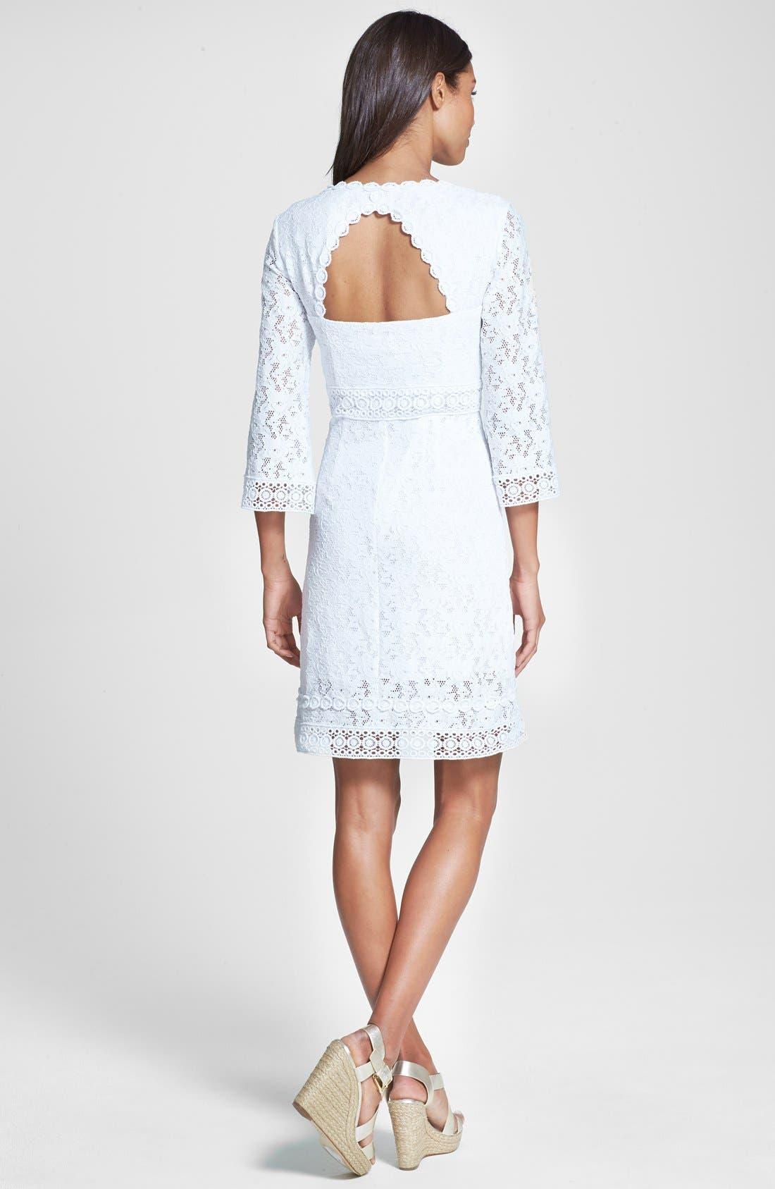 Alternate Image 2  - Laundry by Shelli Segal Back Cutout Lace Shift Dress (Regular & Petite)