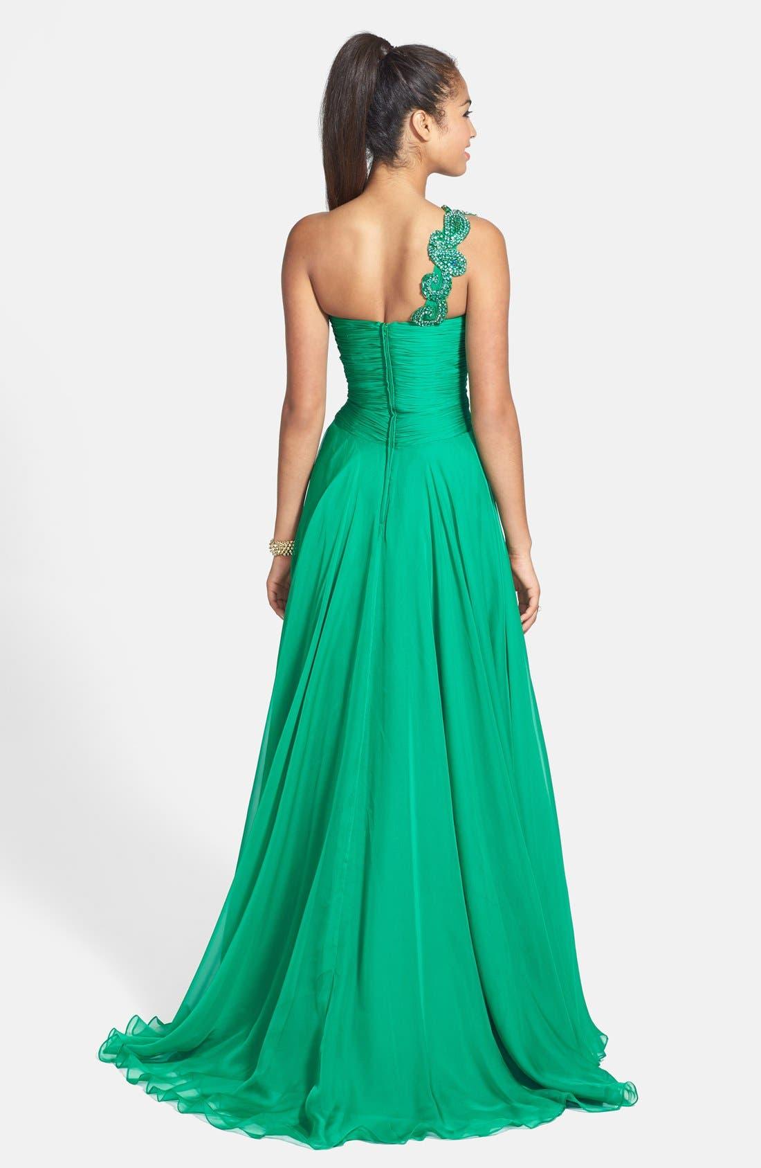 Alternate Image 2  - Sherri Hill One Shoulder Embellished Chiffon Gown