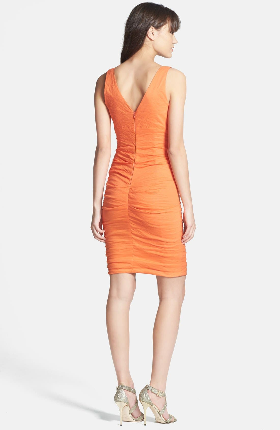 Alternate Image 2  - Nicole Miller Ruched Techno Metal Sheath Dress