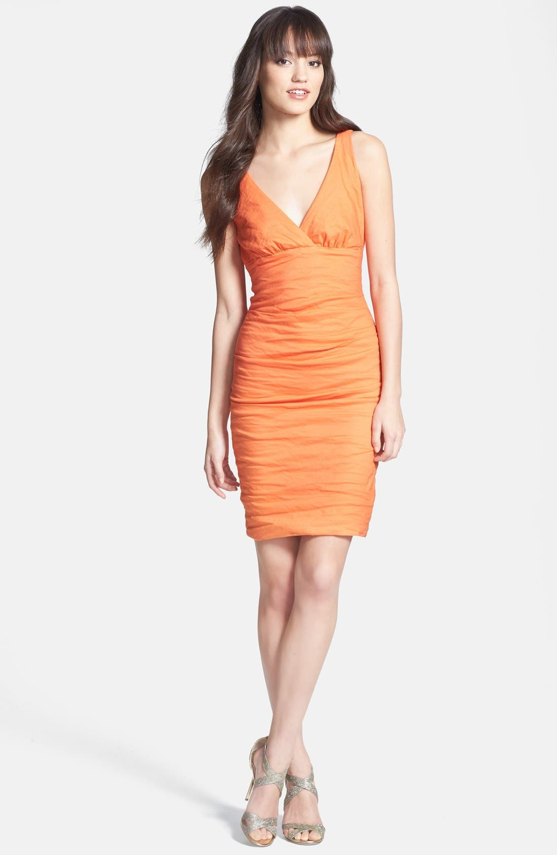 Alternate Image 3  - Nicole Miller Ruched Techno Metal Sheath Dress