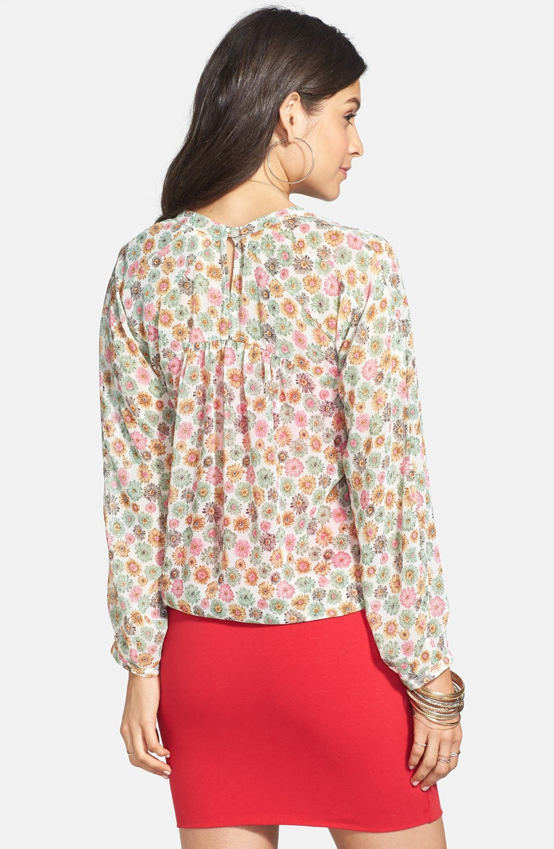 Alternate Image 2  - Elodie Floral Print Gathered Yoke Blouse (Juniors)