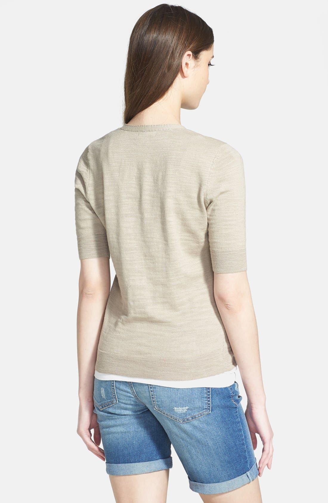 Alternate Image 2  - Caslon® V-Neck Elbow Sleeve Cardigan (Regular & Petite)