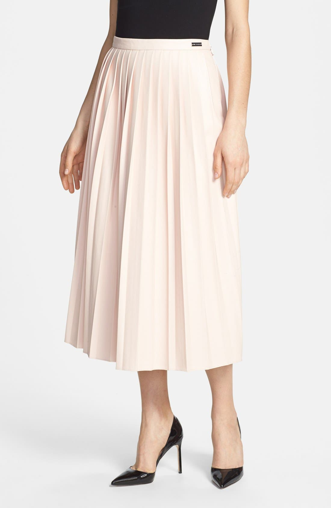 Main Image - Pink Tartan Faux Leather Pleat Skirt