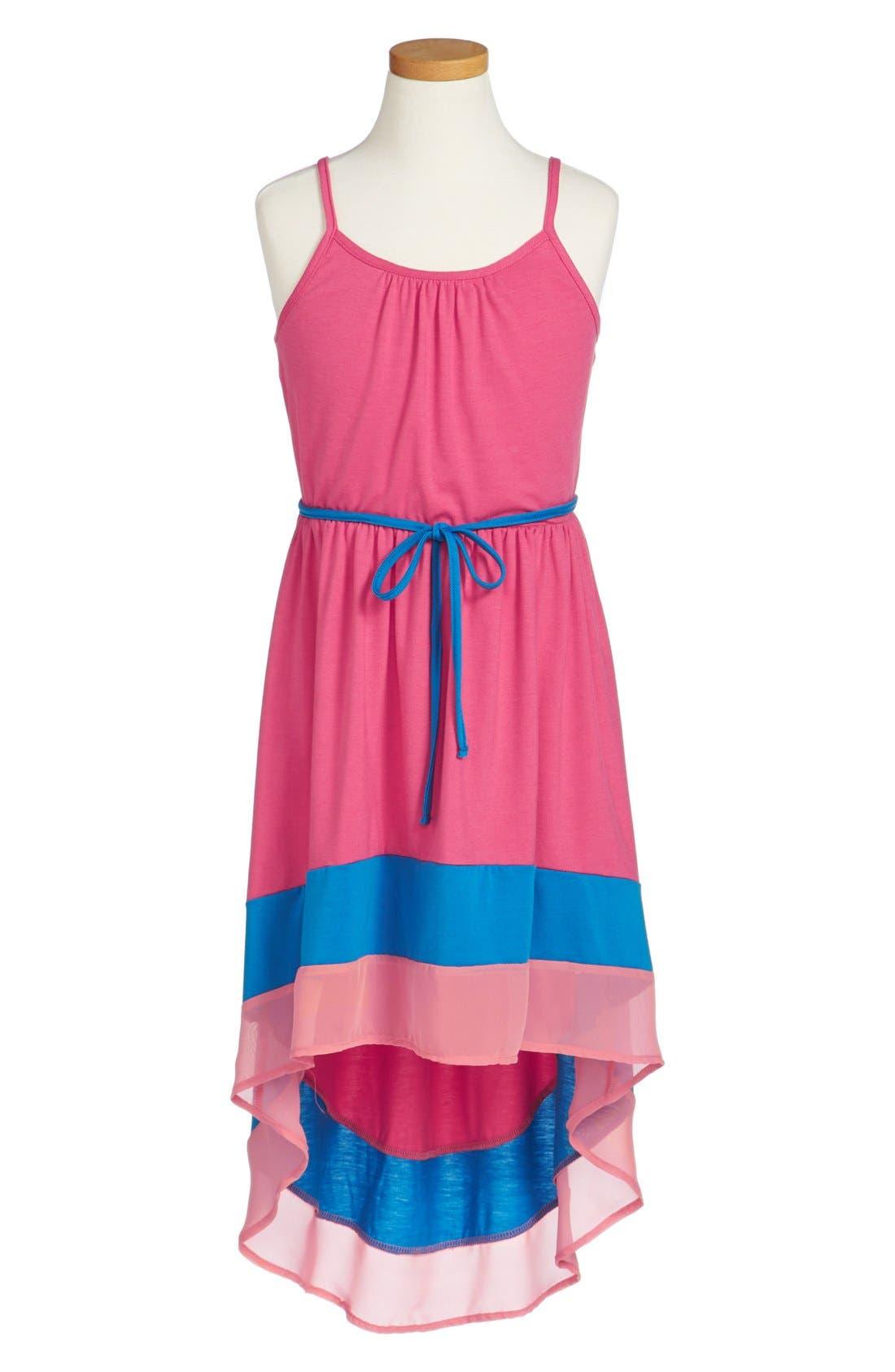 Alternate Image 1 Selected - Zunie Colorblock High/Low Dress (Big Girls)