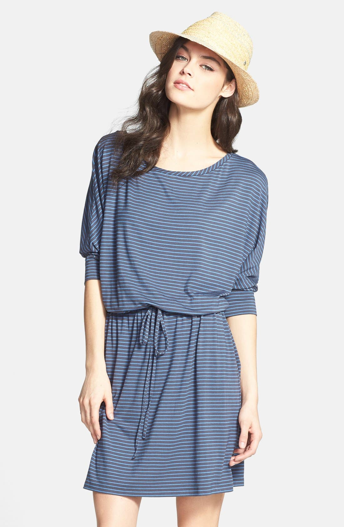 Main Image - Caslon® Three Quarter Sleeve Round Neck Stretch Knit Dress (Regular & Petite)