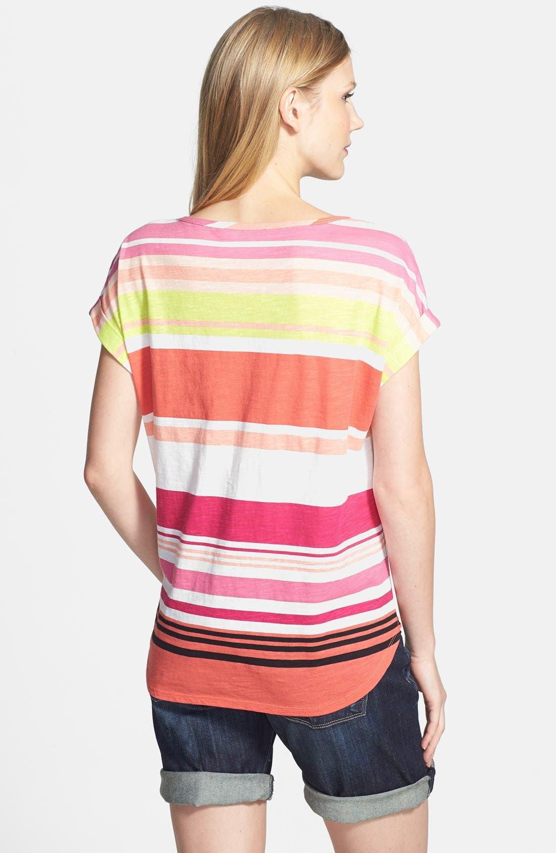 Alternate Image 2  - Two by Vince Camuto 'Stripe Row' Cotton Tee