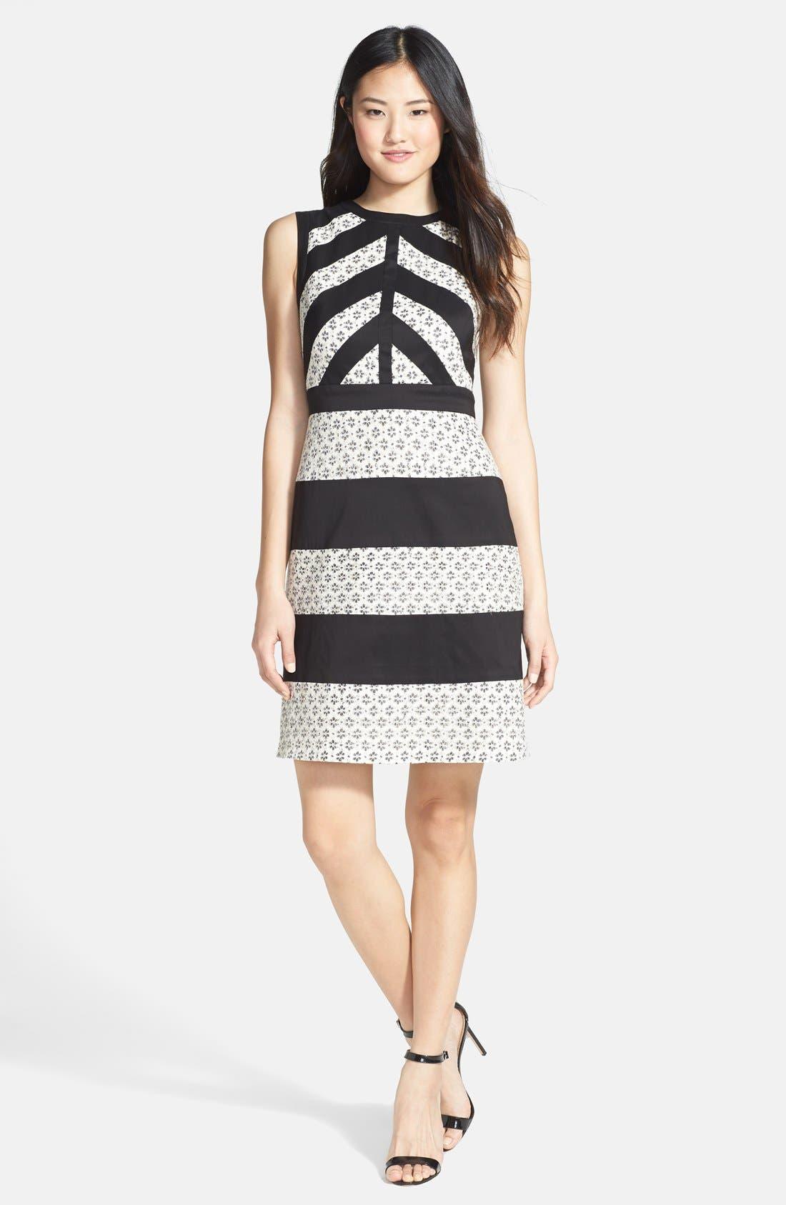 Alternate Image 3  - Ivy & Blu Mixed Media Stripe Cotton Blend Dress