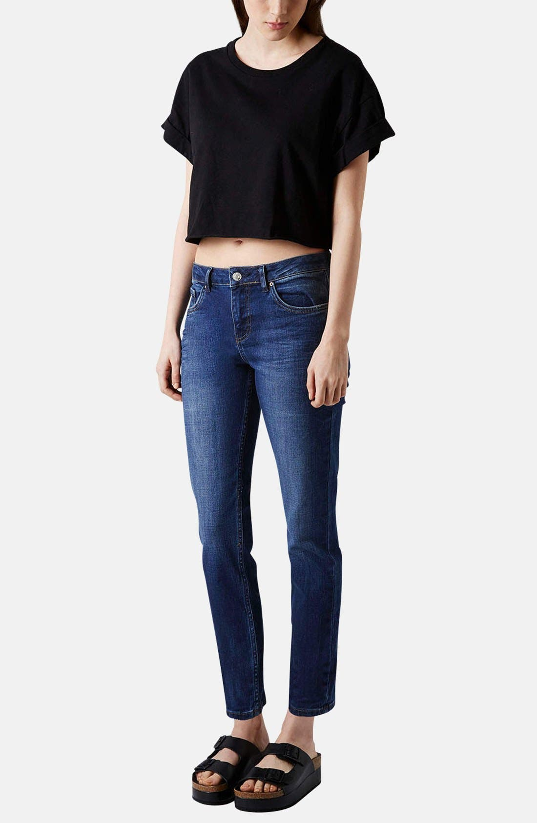 Alternate Image 5  - Topshop Moto Relaxed Straight Leg Jeans (Blue)