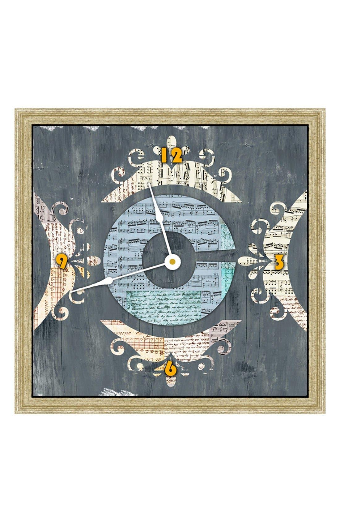 Main Image - Green Leaf Art 'Letter Texture' Clock