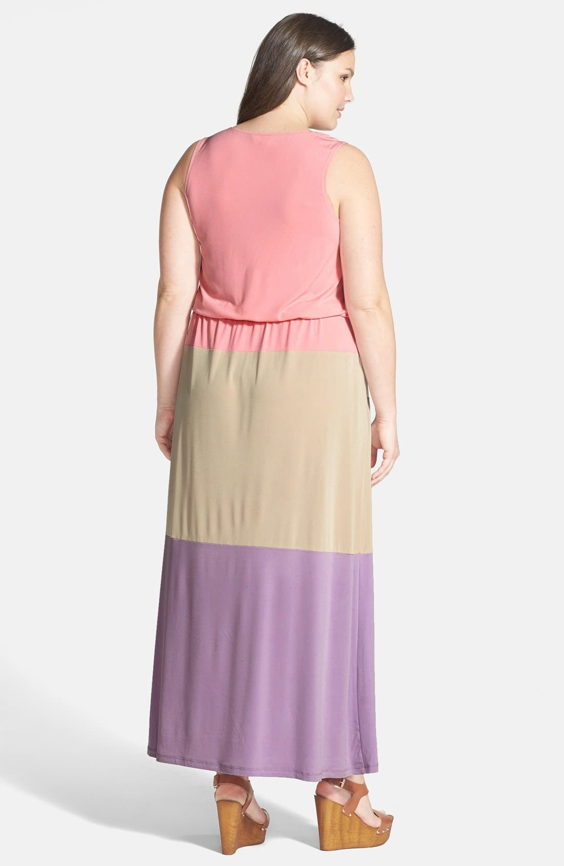 Alternate Image 2  - London Times Colorblock Print Matte Jersey Maxi Dress (Plus Size)