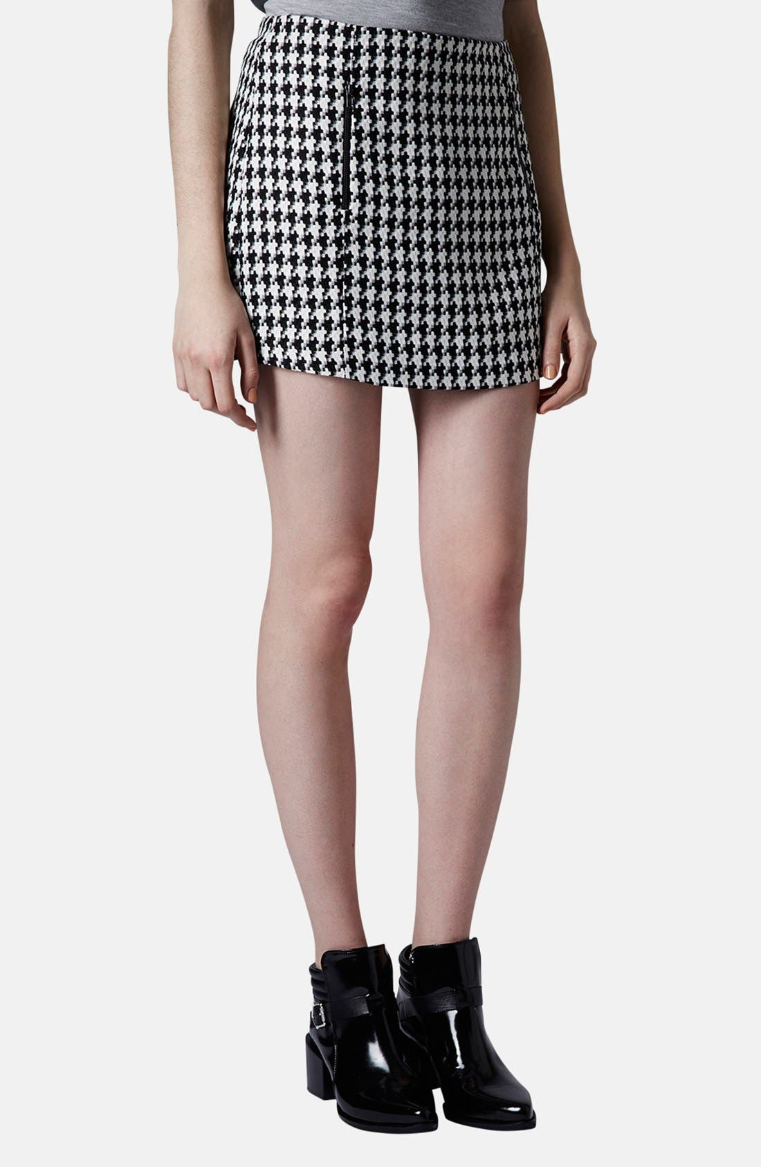 Alternate Image 1 Selected - Topshop Zip Detail Houndstooth Skirt