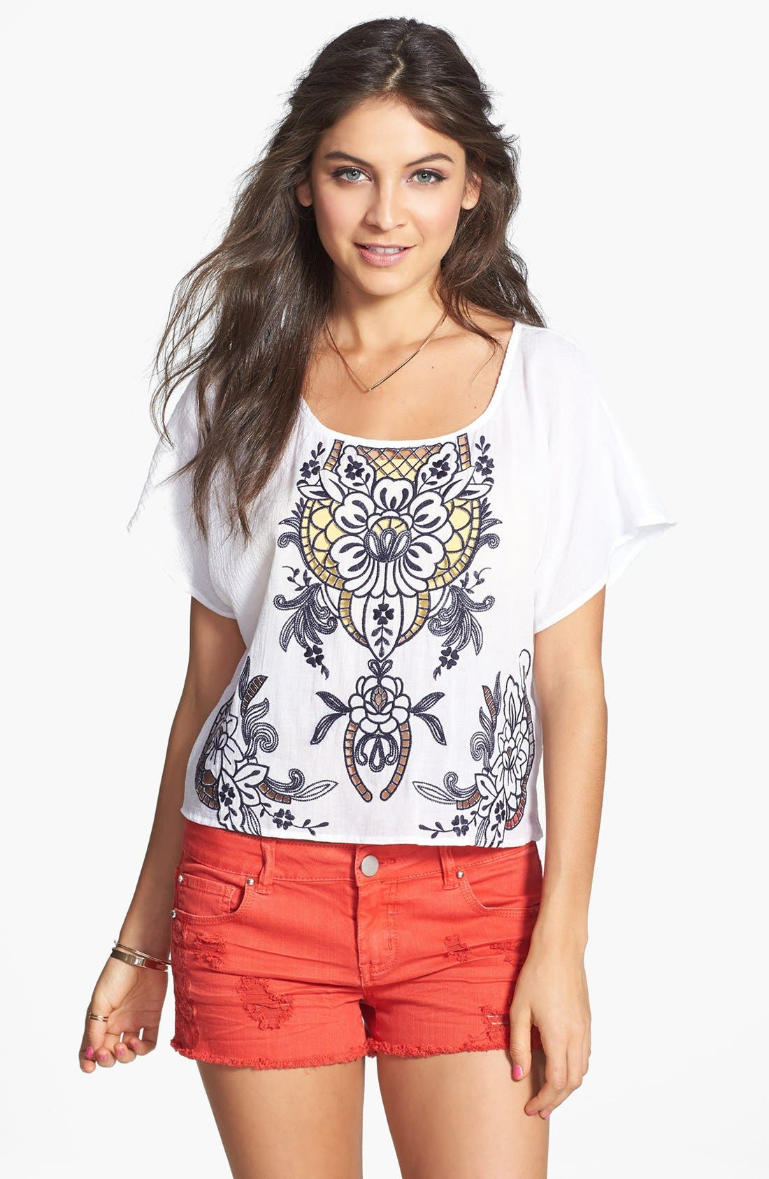 Main Image - Love on a Hanger Embroidered Eyelet Tee (Juniors)