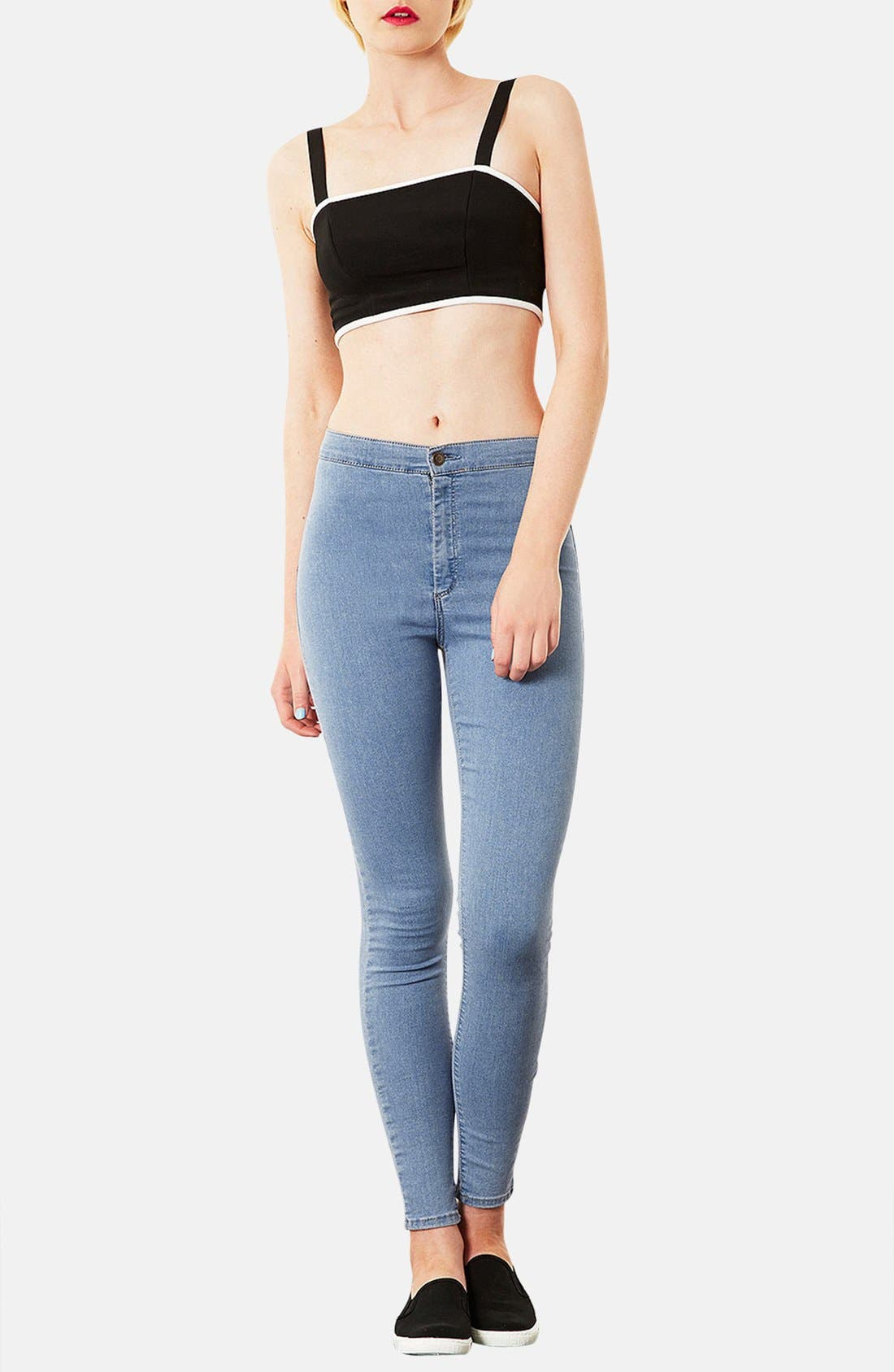 Alternate Image 4  - Topshop Moto 'Joni' High Rise Skinny Jeans (Mid Stone)
