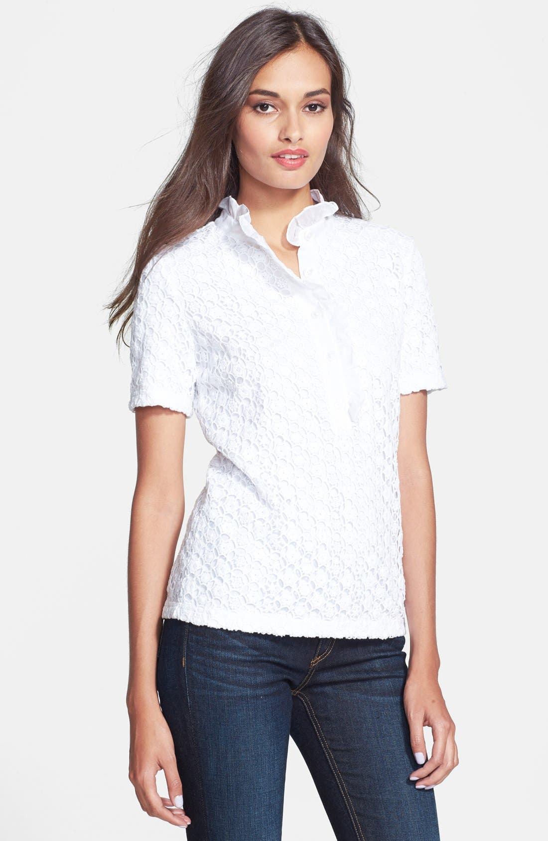 Alternate Image 1 Selected - Tory Burch 'Lidia' Lace Polo