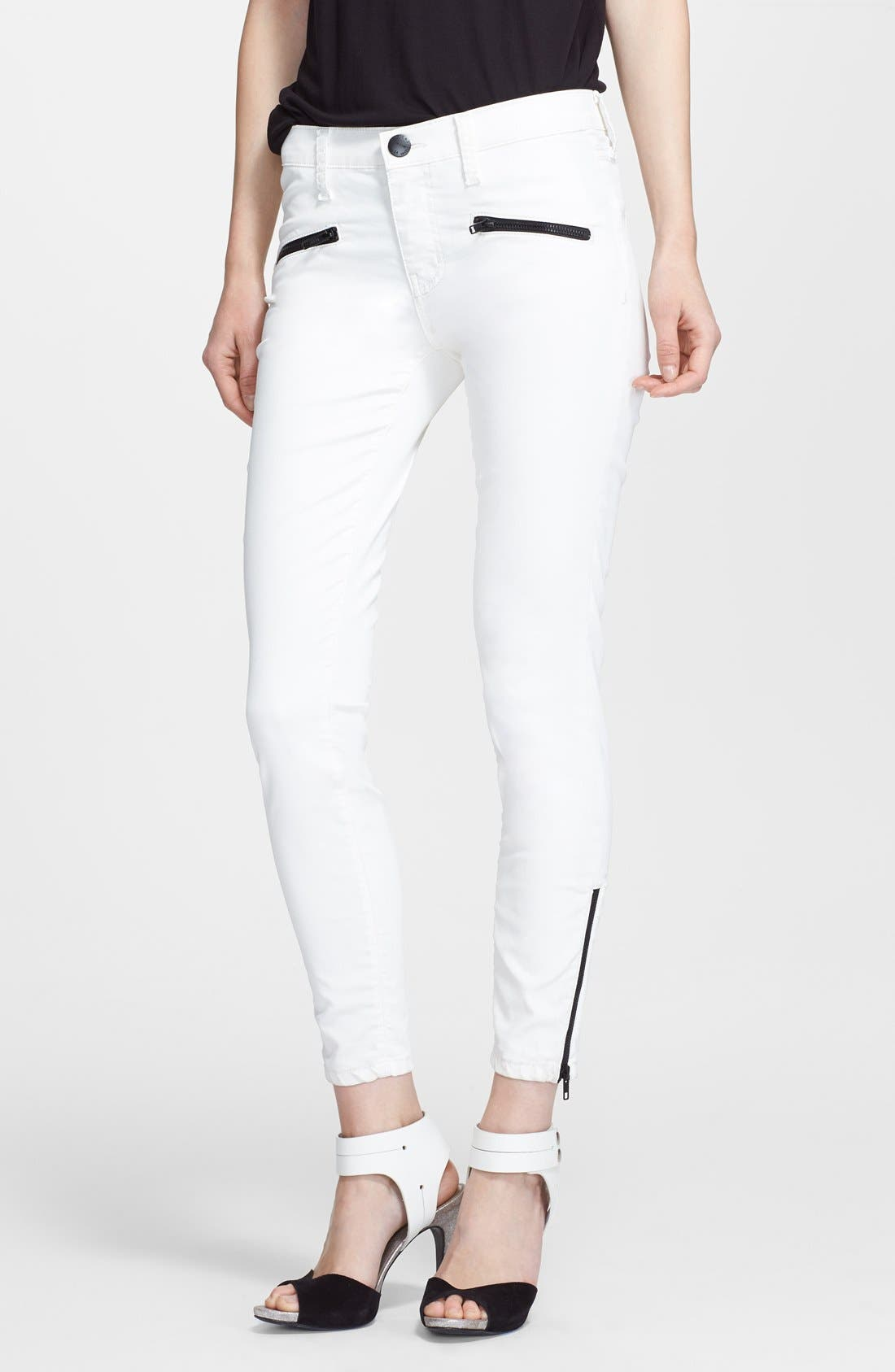 Alternate Image 1 Selected - Current/Elliott 'The Soho Zip Stiletto' Skinny Jeans (Sugar Coated)