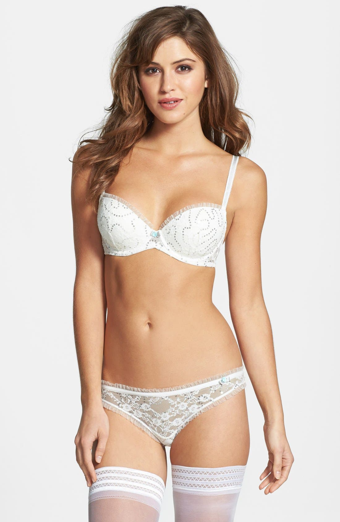 Alternate Image 3  - Betsey Johnson Sequin Ruffle Lace Balconette Bra