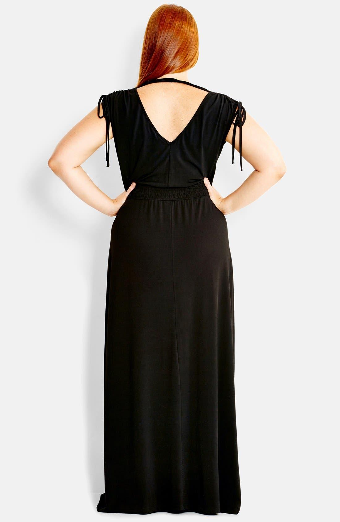 Alternate Image 2  - City Chic 'Drapey' V-Neck Maxi Dress (Plus Size)