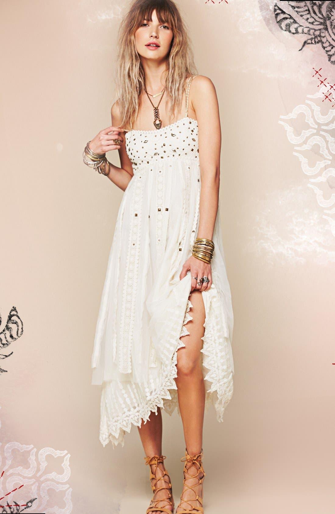 Alternate Image 4  - Free People Stud Lace Trim Midi Dress