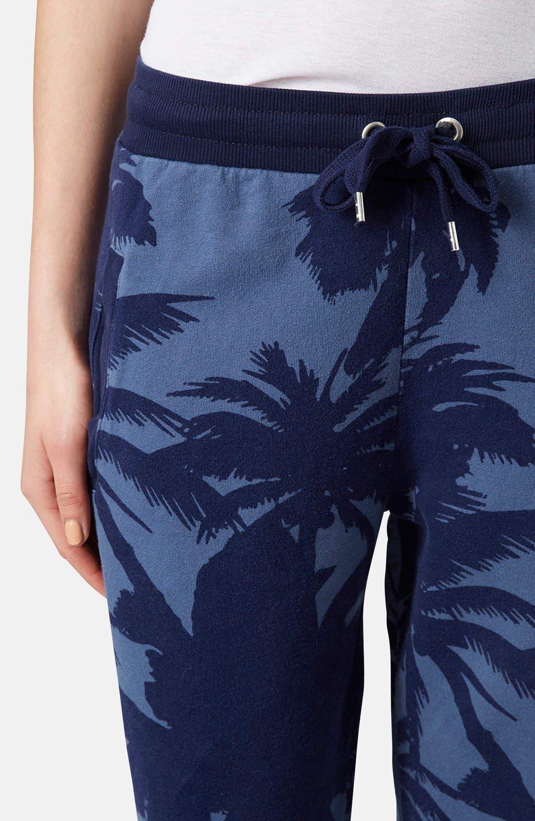 Alternate Image 4  - Topshop Palm Print Track Pants