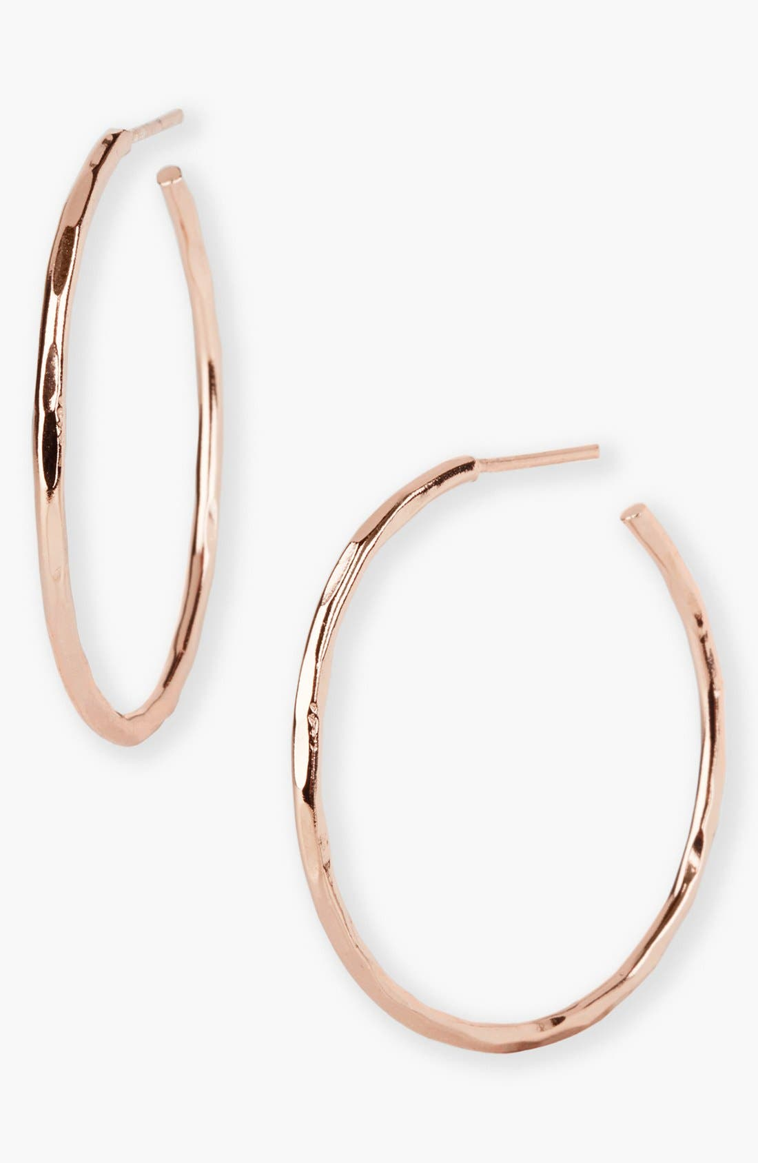 Main Image - Argento Vivo Medium Hammered Hoop Earrings