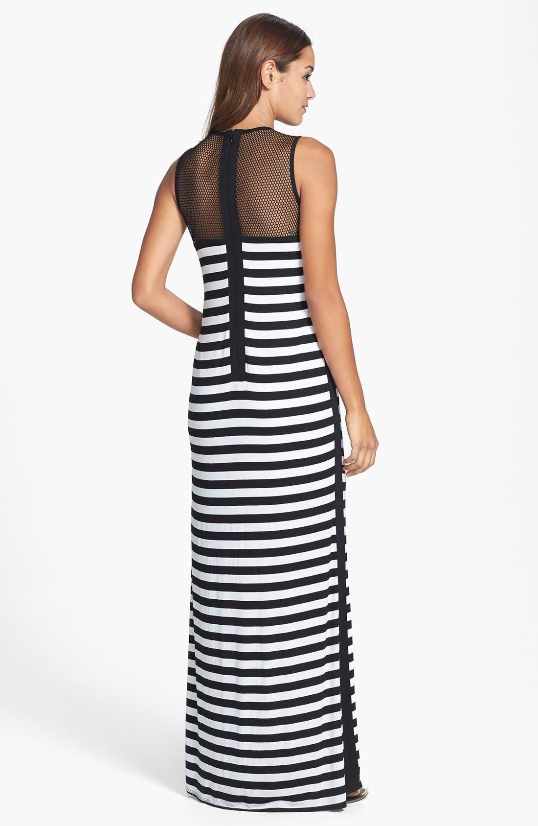 Alternate Image 2  - Laundry by Shelli Segal Stripe Mesh & Jersey Maxi Dress