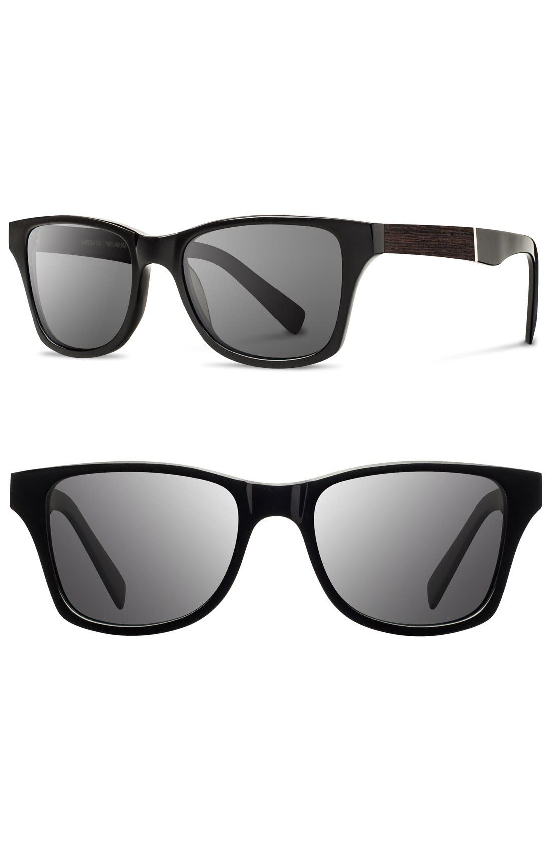 'Canby' 53mm Wood Sunglasses,                             Main thumbnail 1, color,                             Black/ Ebony/ Grey