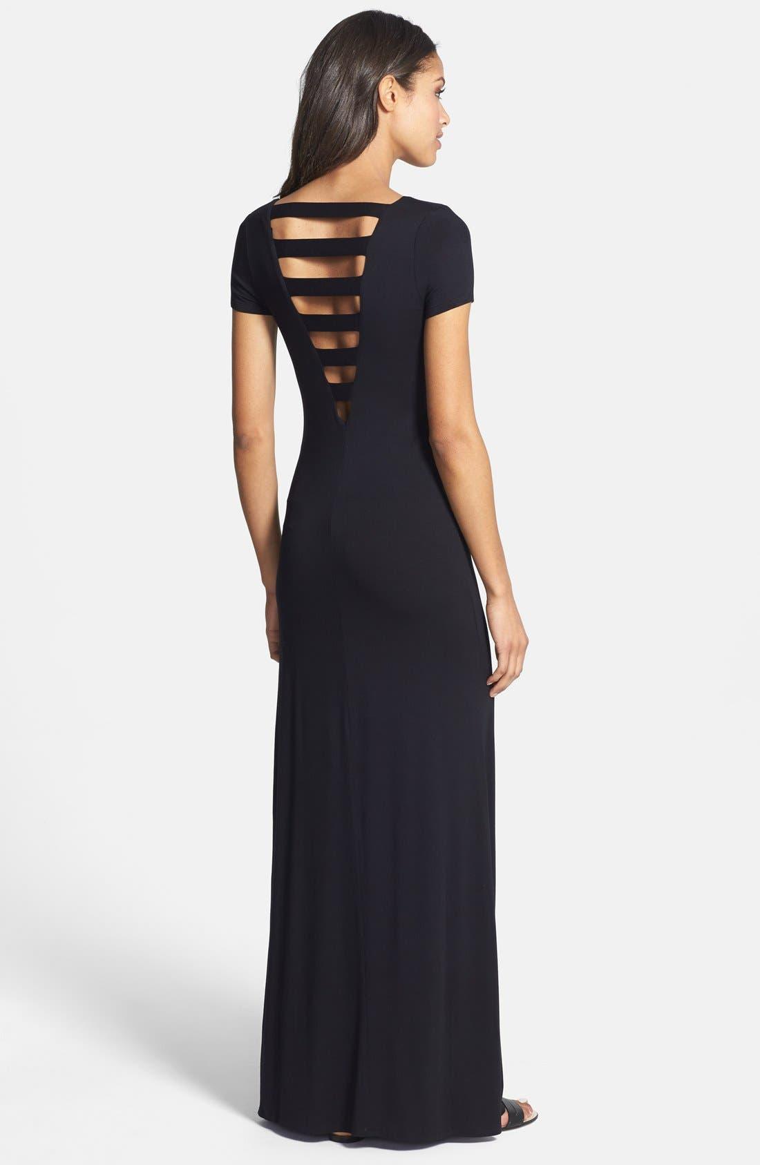Lattice Back Jersey Maxi Dress,                             Alternate thumbnail 2, color,                             Black