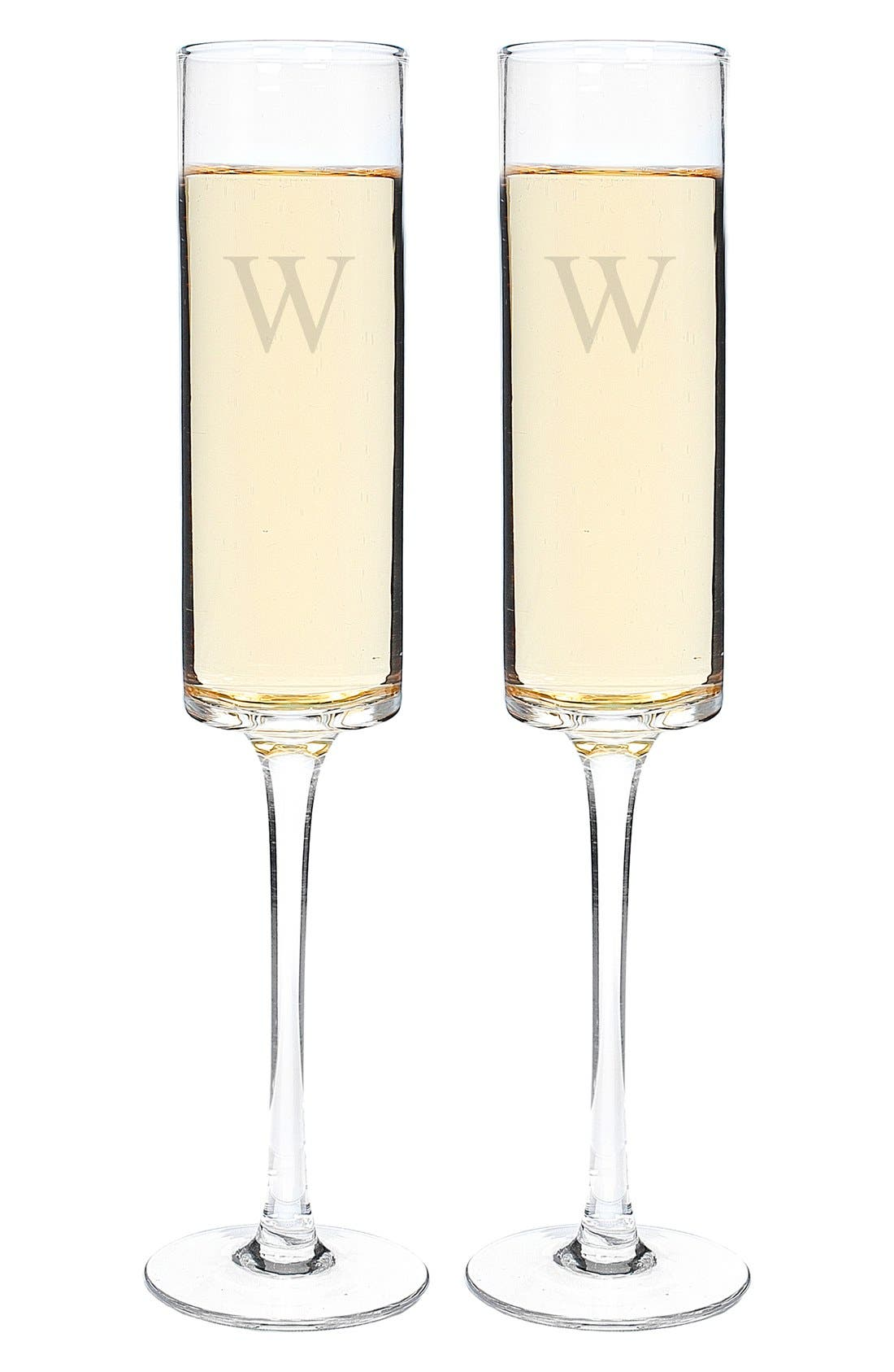 Alternate Image 3  - Cathy's Concepts 'Contemporary' Monogram Champagne Flutes (Set of 2)