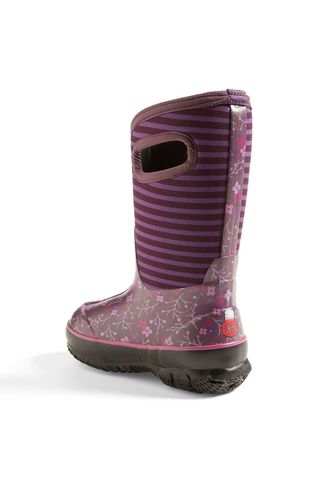 Alternate Image 2  - Bogs 'Classic - Flower Stripe' Waterproof Boot (Little Kid & Big Kid)