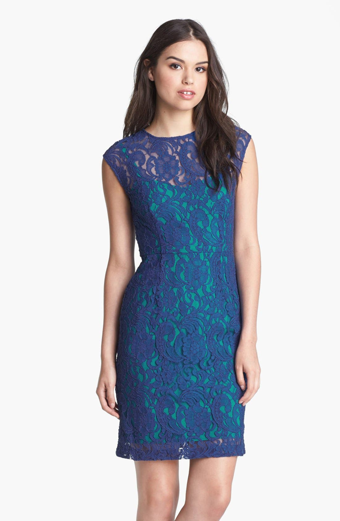 Main Image - Ivy & Blu Cap Sleeve Lace Dress