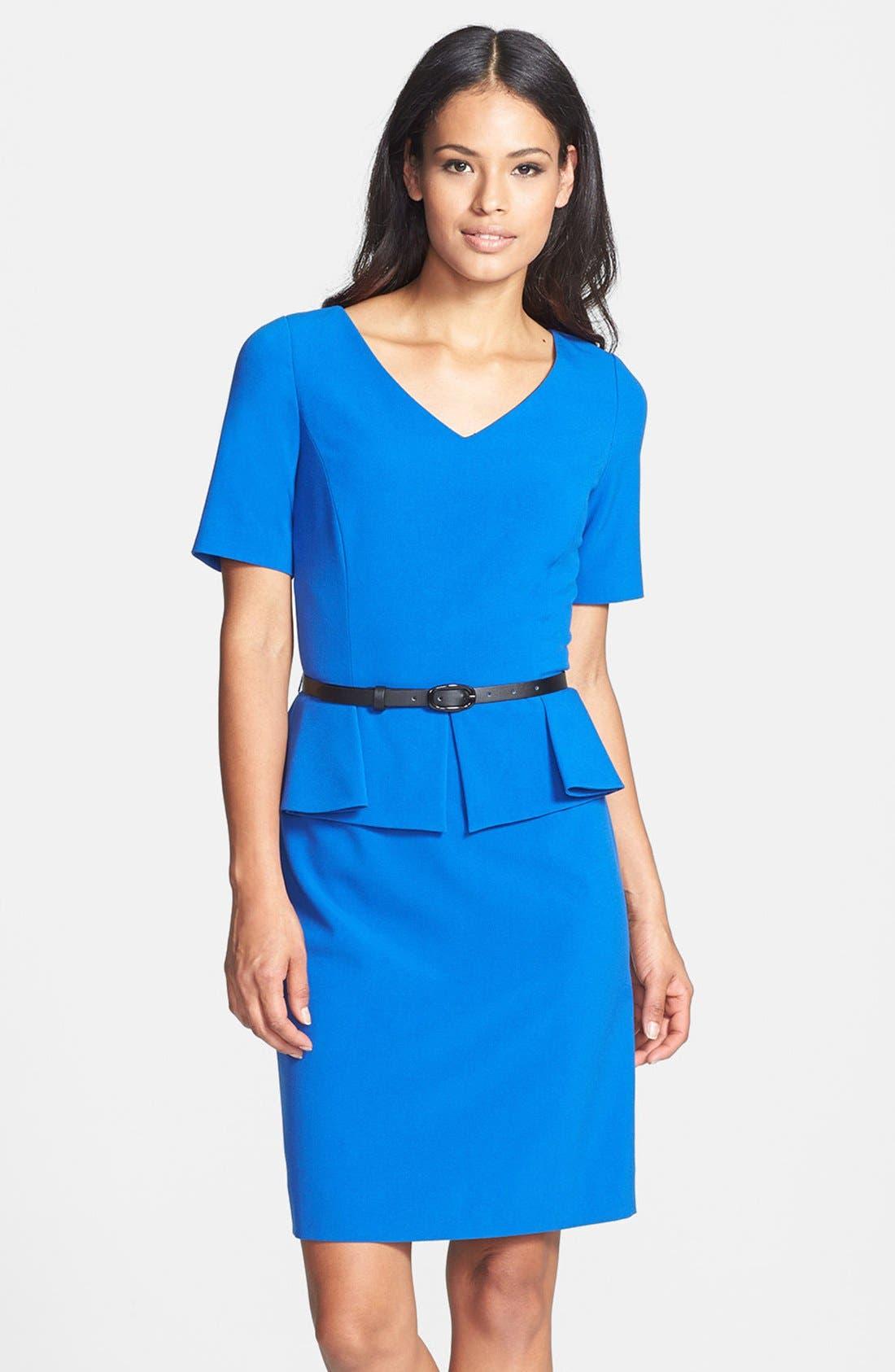 Alternate Image 1 Selected - Tahari Stretch Peplum Sheath Dress