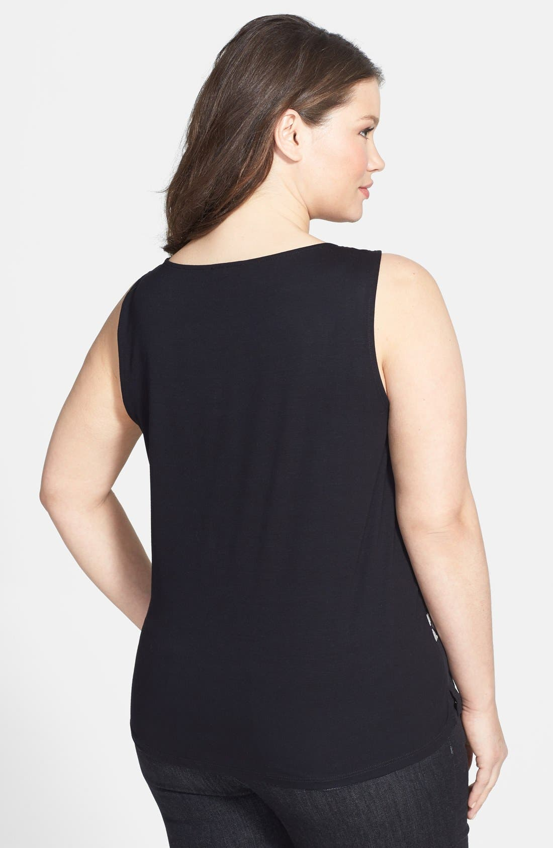 Alternate Image 2  - Eileen Fisher Scoop Neck Mixed Media Shell (Plus Size)