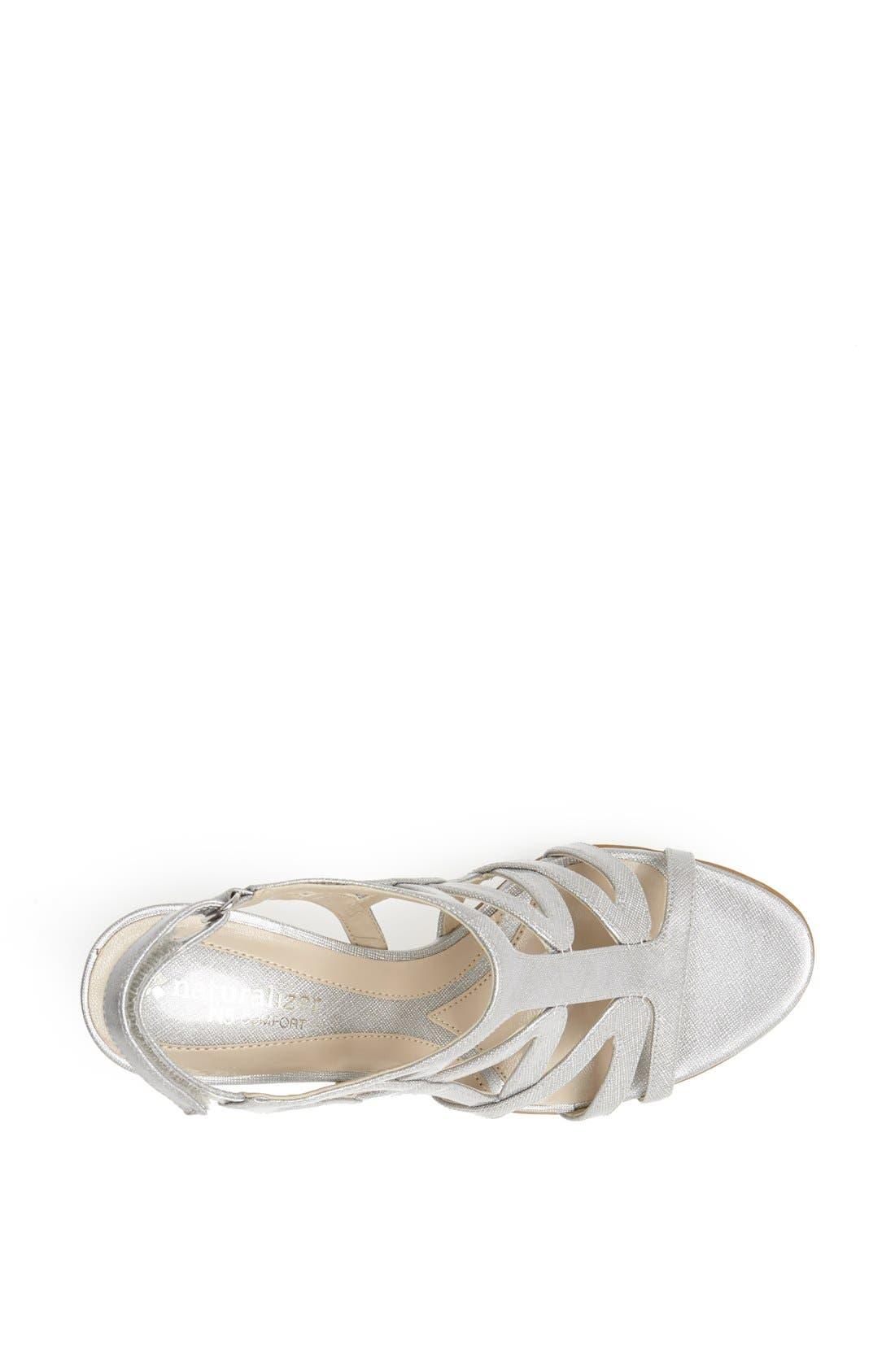 'Danya' Sandal,                             Alternate thumbnail 3, color,                             Silver Crosshatch