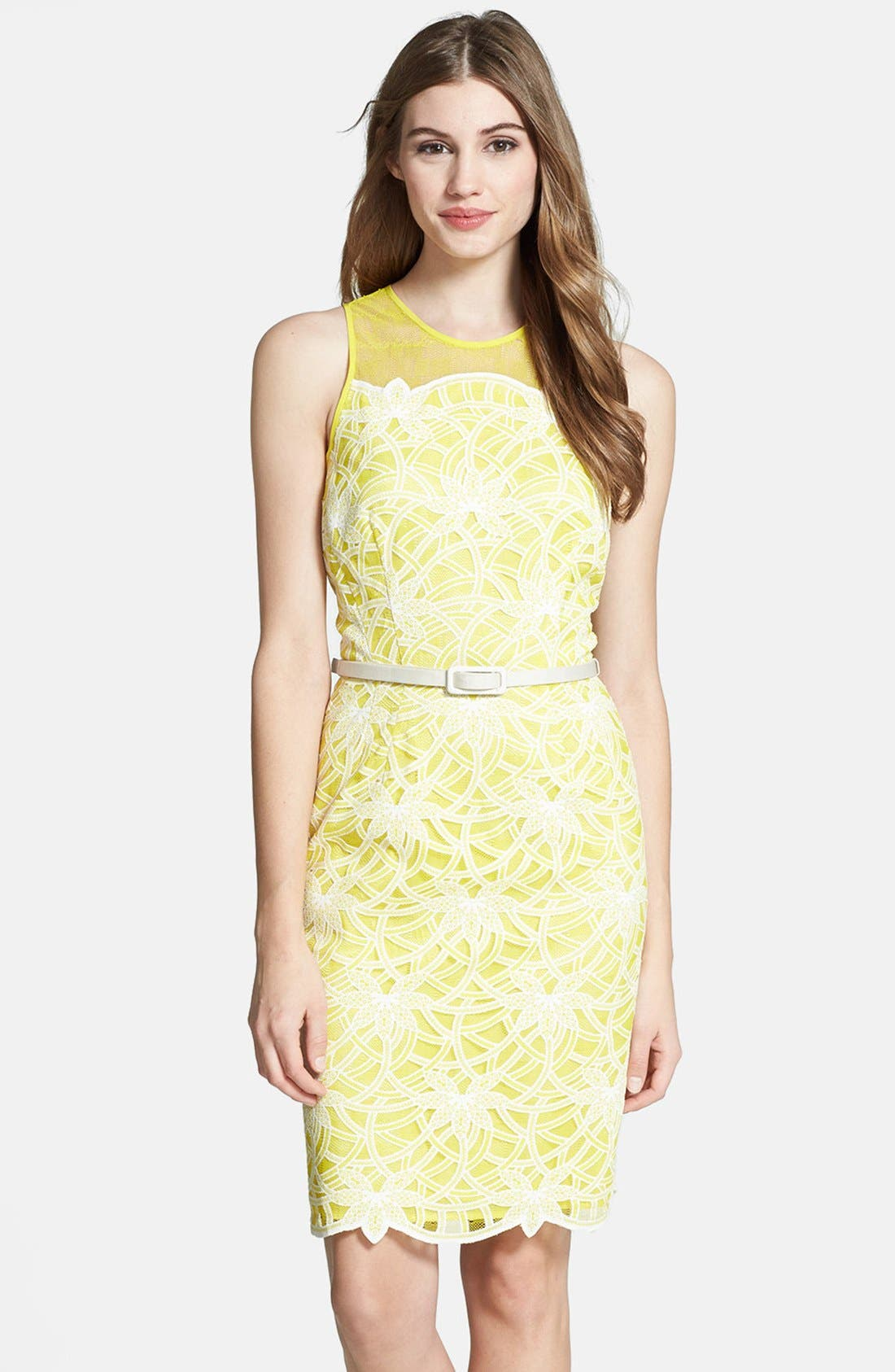 Alternate Image 1 Selected - Maggy London Belted Embroidered Lace Sheath Dress
