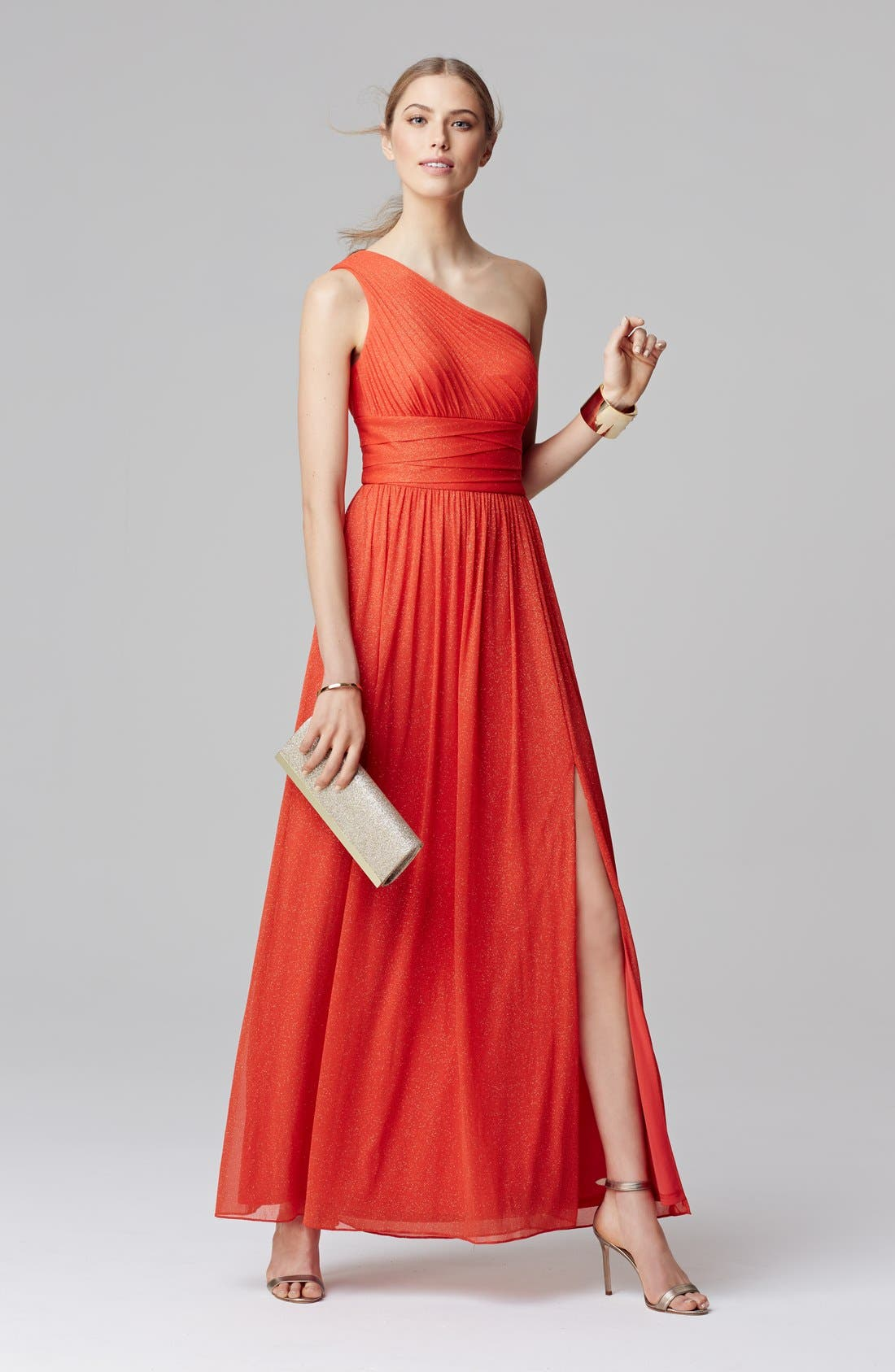 Alternate Image 4  - Hailey by Adrianna Papell One-Shoulder Glitter Knit Gown