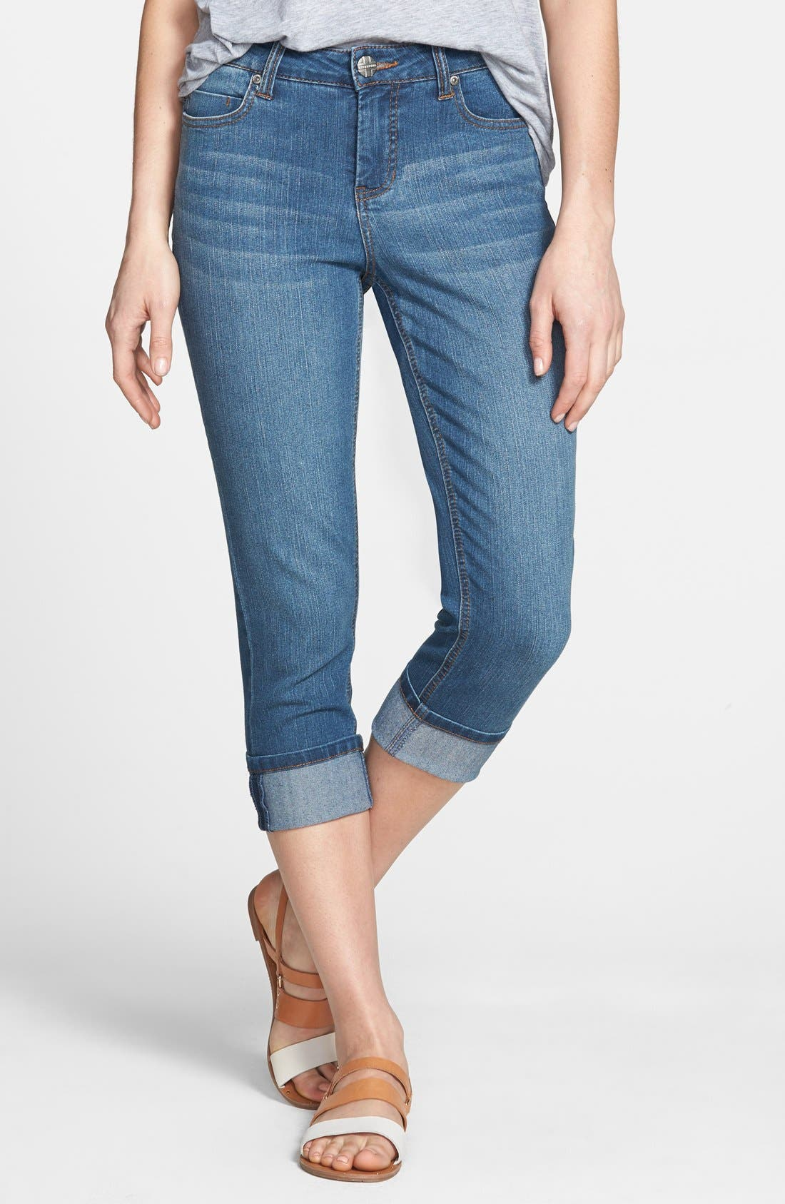 Alternate Image 1 Selected - Liverpool Jeans Company 'Michelle' Cuffed Stretch Capri Jeans