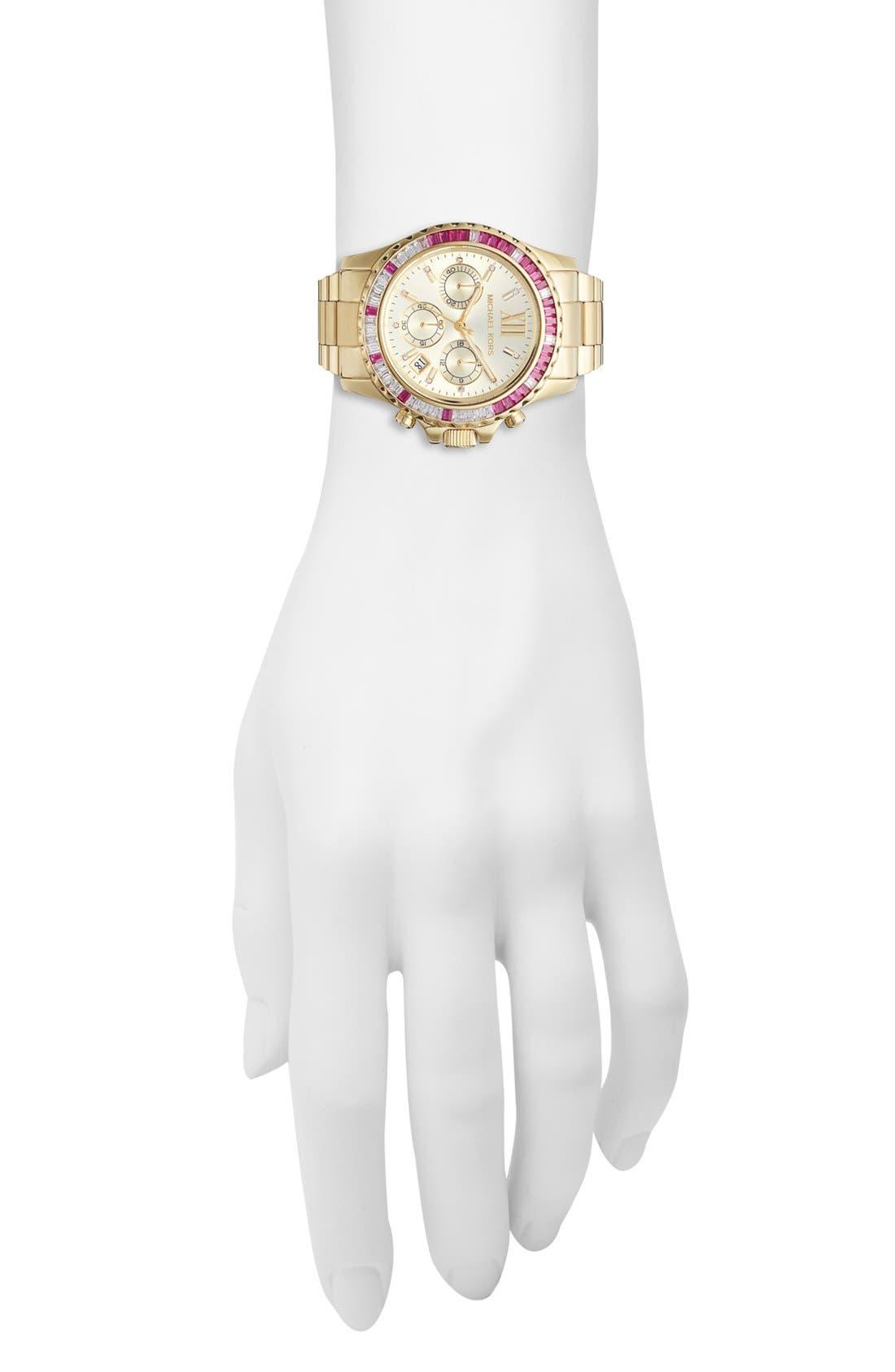 Alternate Image 4  - Michael Kors 'Everest' Baguette Crystal Bezel Bracelet Watch, 41mm