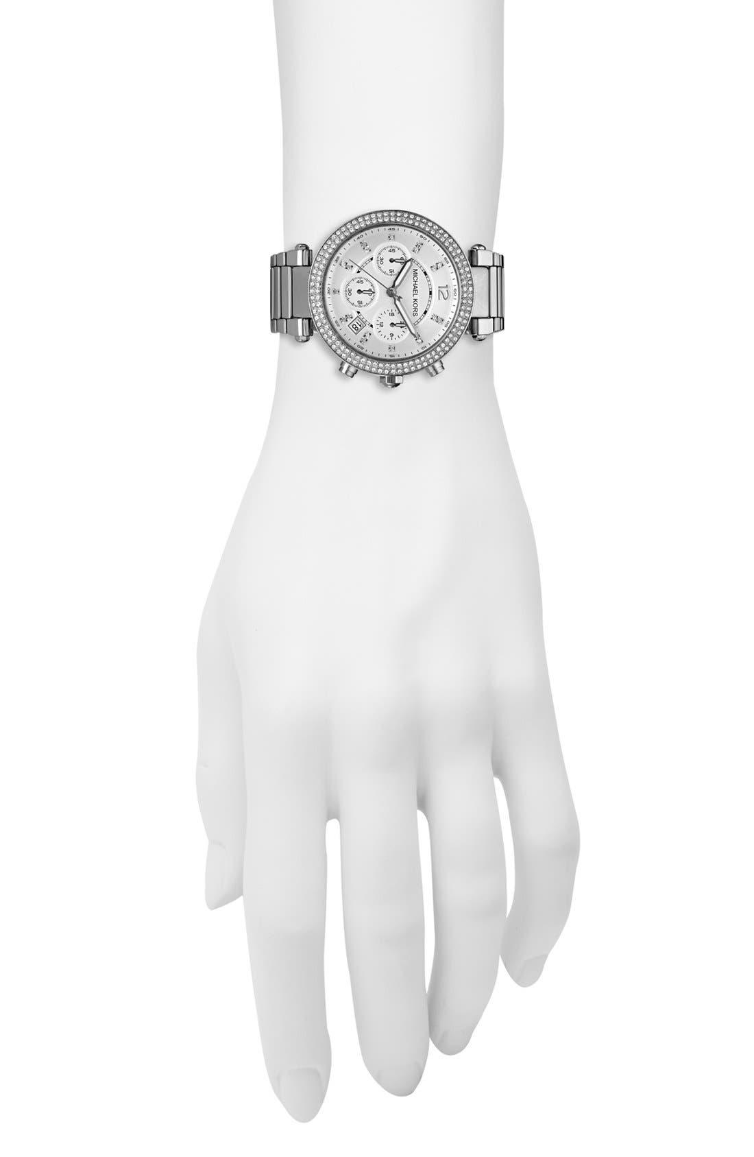 Michael Kors 'Parker' Chronograph Bracelet Watch, 39mm,                             Alternate thumbnail 4, color,                             Silver