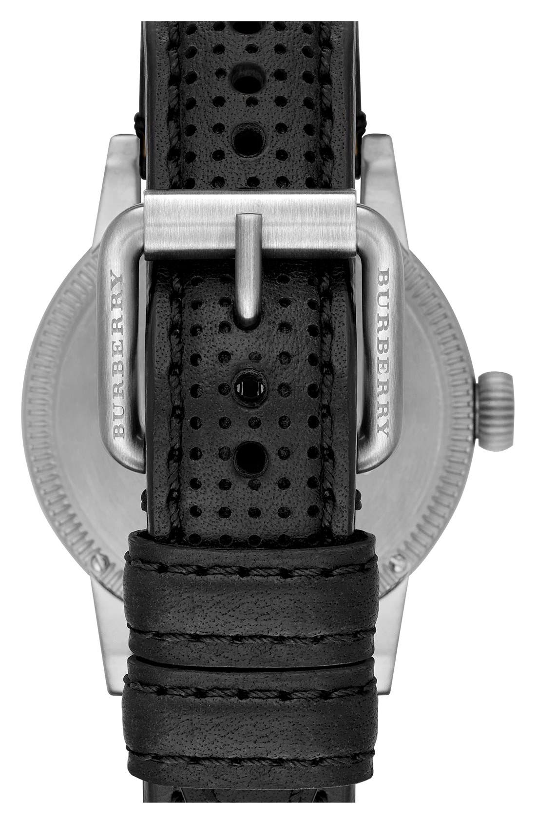Alternate Image 2  - Burberry 'Utilitarian' Round Perforated Leather Strap Watch, 42mm